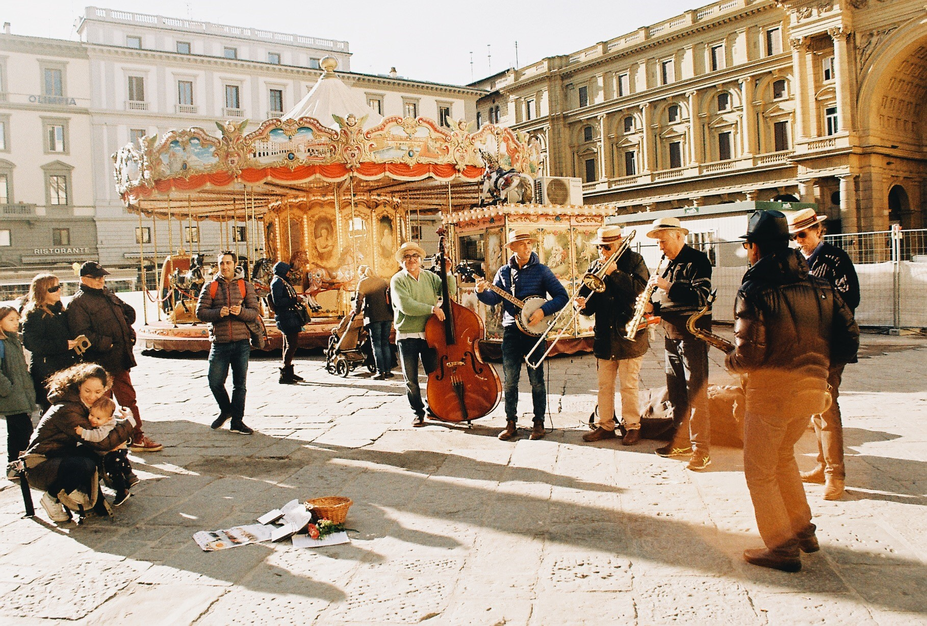 CAPAStudyAbroad_Florence_Fall2018_Payton Meyer_Piazza della Repubblica Carousel and Musicians_35 mm Film